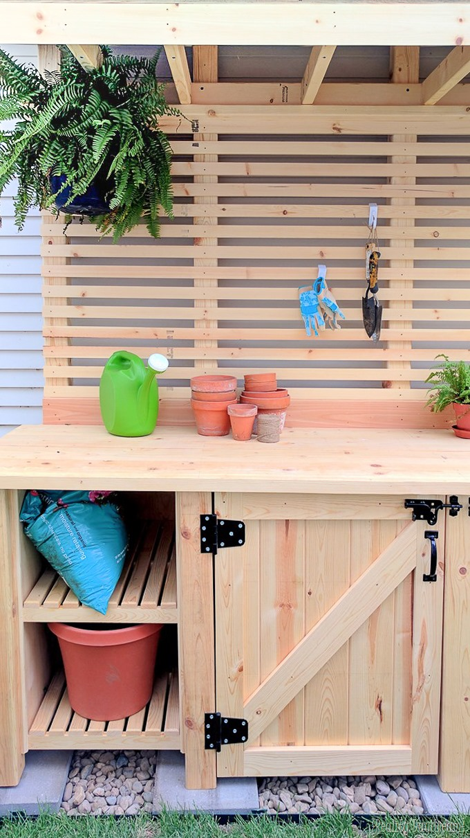 Potting bench with hidden garbage can enclosure... FREE Building Plans! {Reality Daydream}