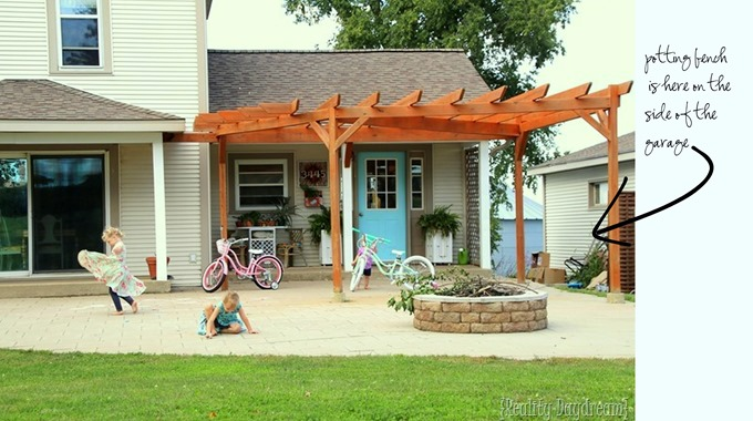 Reality Daydream porch, patio, pergola, and potting bench! {Reality Daydream}