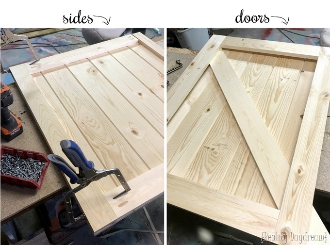 Sides and doors for potting banch with hidden garbage can enclosure {Reality Daydream}