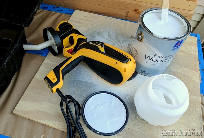 Wagner paint gun for exterior potting bench garden shed {Reality Daydream}