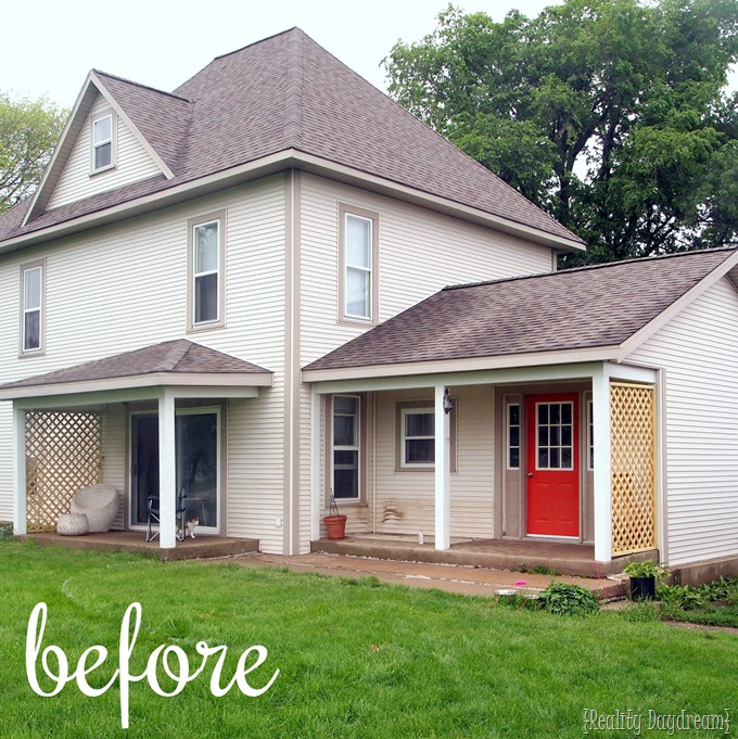 BEFORE pic of our home prior to the patio and pergola installation {Reality Daydream}