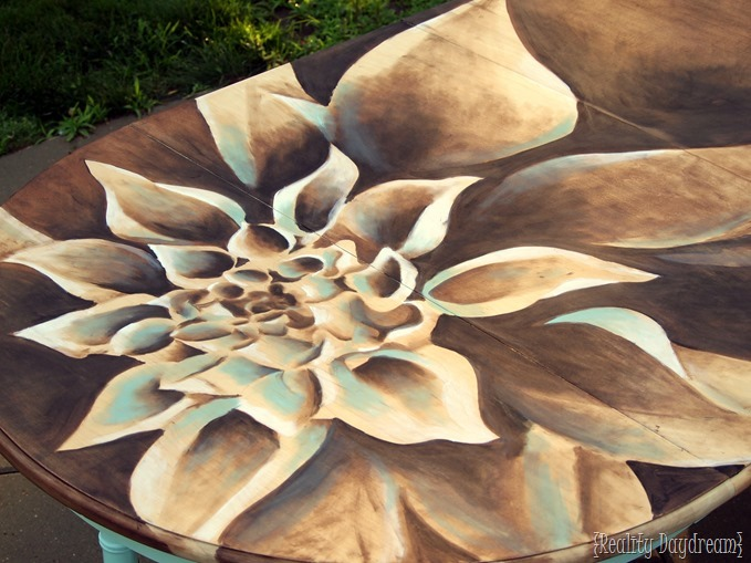 Dahlia Dining Table art with wood stain