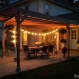 Unique Patio Lights… strung between birch logs!