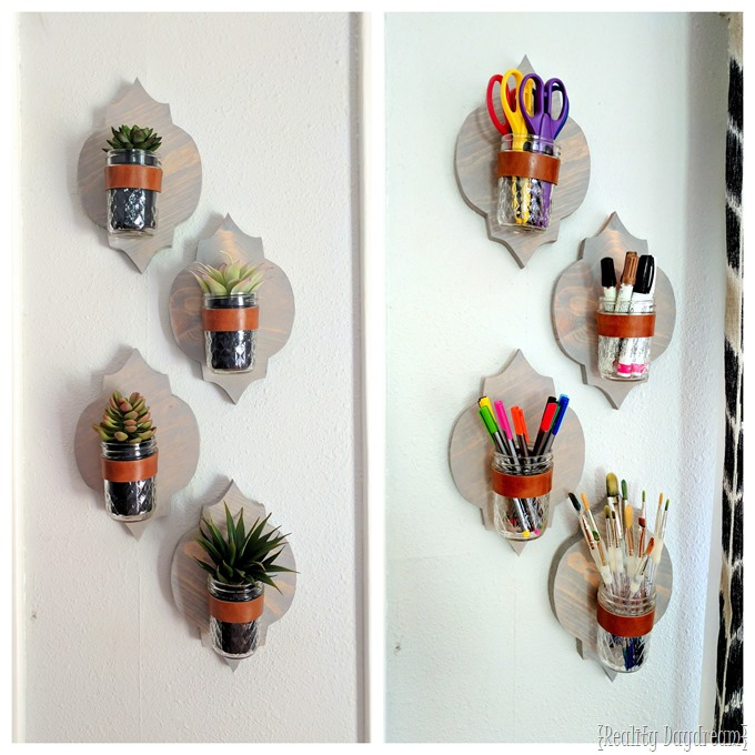 Moroccan pattern shaped wooden sconces to be used as planters, organization, candles. etc! {Reality Daydream}