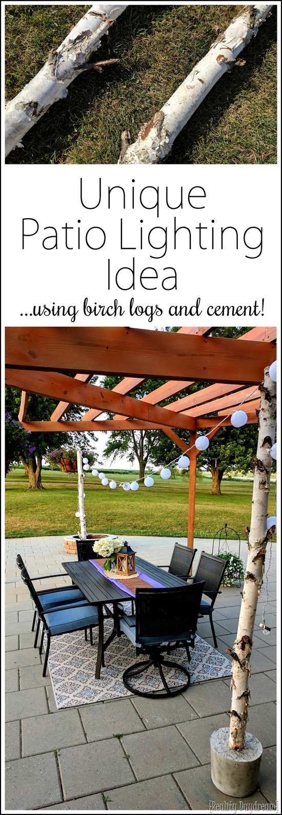 String your outdoor lights between to birch logs set in cement for the cutest DIY outdoor lighting for your patio! {Reality Daydream}