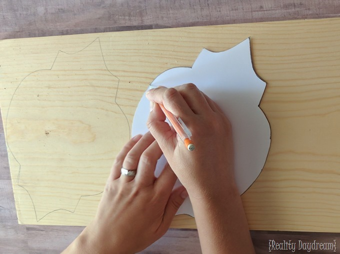 Trace out Moroccan Pattern onto wood for DIY Sconces {Reality Daydream}