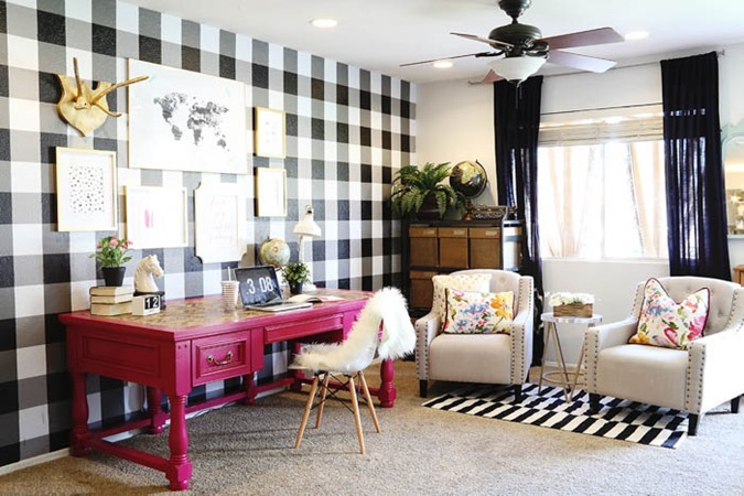 Buffalo Check PAINTED Accent wall or 'feature wall' by Classy CLutter