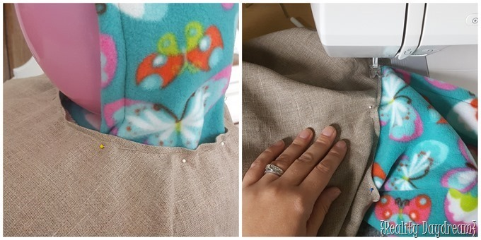 Measuring and sewing on the hood of this car seat poncho.