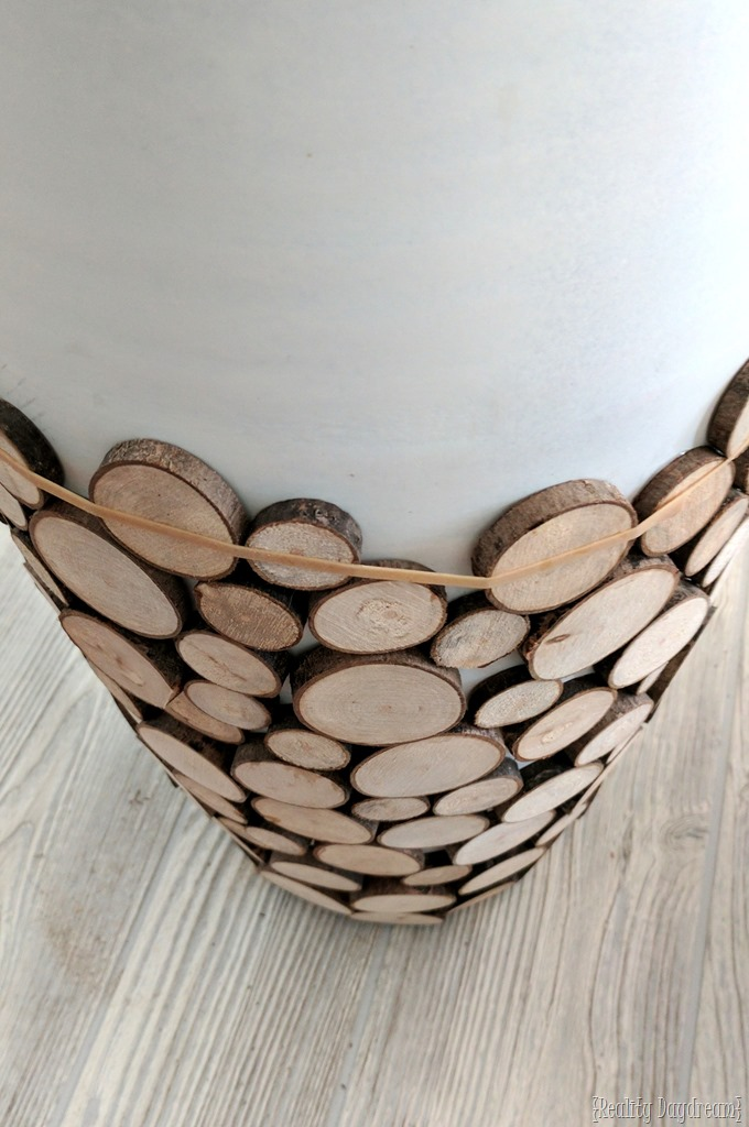 DIY Wood Slice Floor Vase or 'Decorative Vessel' {Reality Daydream}