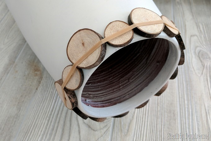 Decorative vessel with wood slice detail {Reality Daydream}