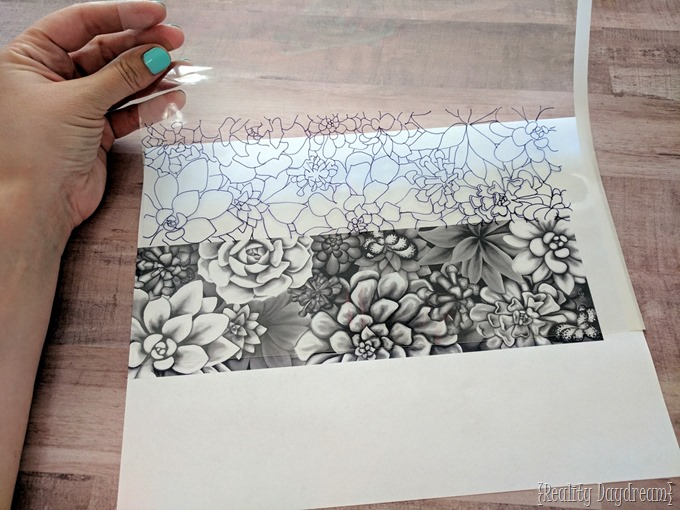 Design traced onto transparency for the wood veneer stained art lampshade! {Reality Daydream}