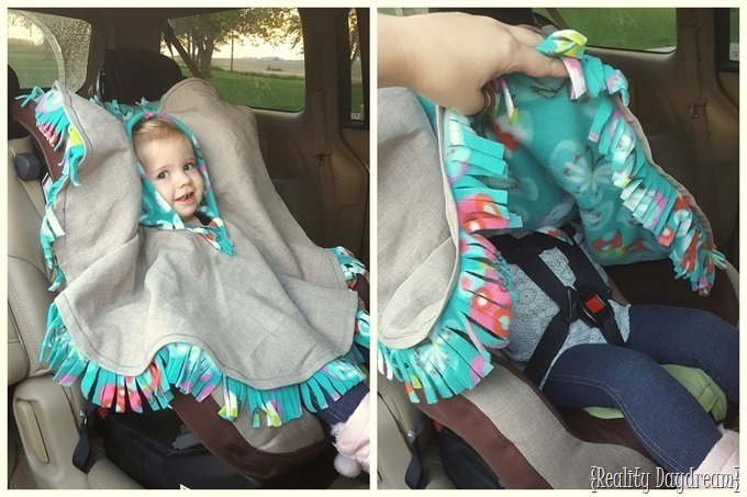 Fleece Carseat Poncho to keep littles warm in the car! Can be made to be reversible too! {Reality Daydream}