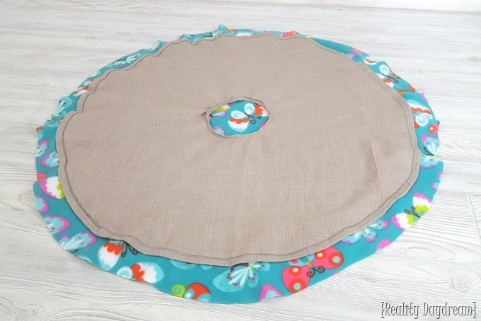 Here is what your almost-finished poncho should look like once you've sewed the two fabrics together.