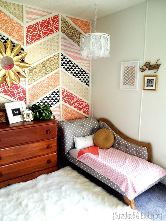 Herringbone Patchwork Accent Wall with stenciled patterns! {Reality Daydream}