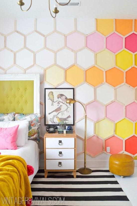 Honeycomb Hexagon Ombre Accent Wall DIY by Vintage Revivals