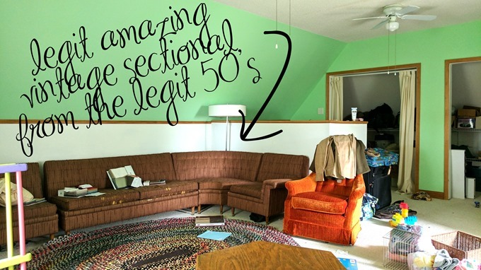 Reality Daydream ATTIC SPACE with insanely awesome sectional couch from the 50s!