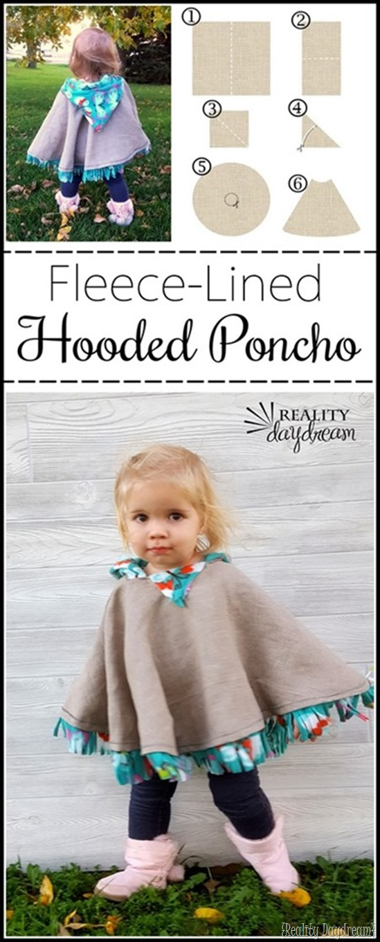This fleece-lined hooded Carseat Poncho is an EASY sewing project! {Reality Daydream}