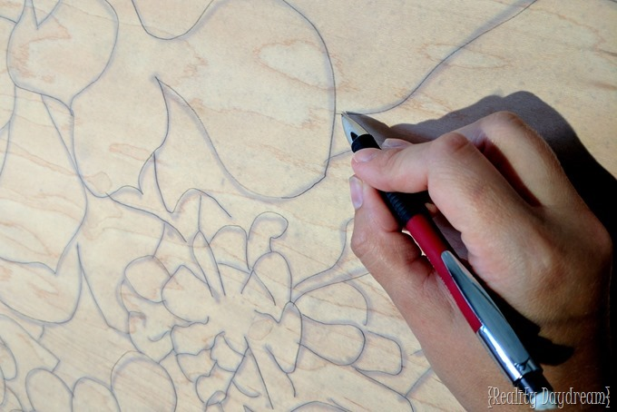 Trace design onto the wood veneer in preparation for the stained art lampshade {Reality Daydream}