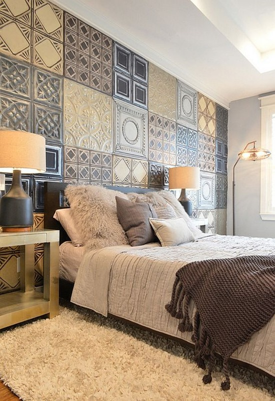 Use ceiling tiles as a unique accent wall idea for the bedroom... or any room! Via Houzz