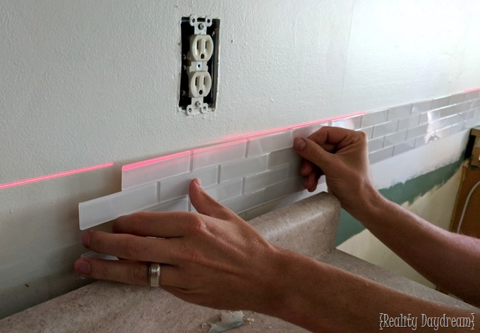 How to install glass subway tiles from Aspect TIle - peel and stick! {Reality Daydream}