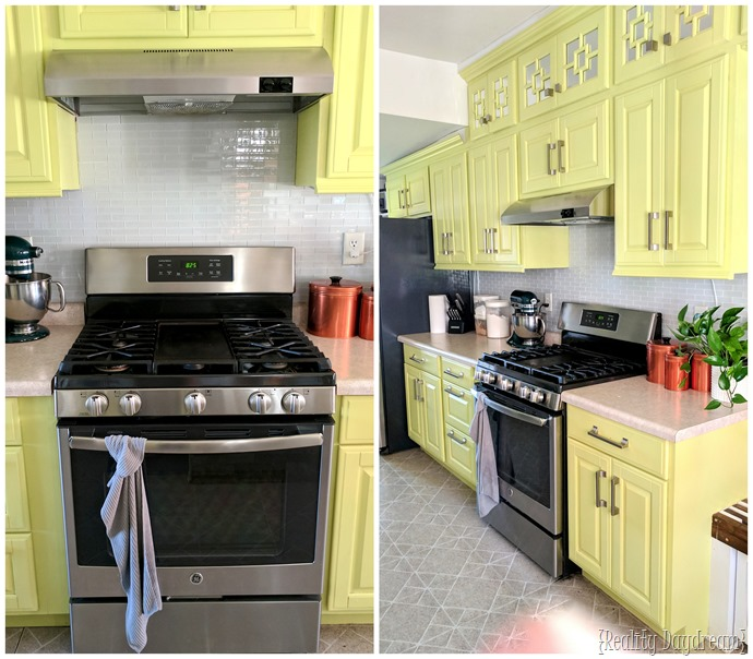 Reality Daydream Yellow Kitchen With White Glass Tile Backsplash {Reality  Daydream}