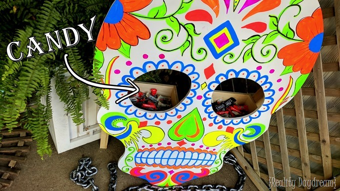 Sugar Skull that holds candy for trick or treaters! {Reality Daydream}