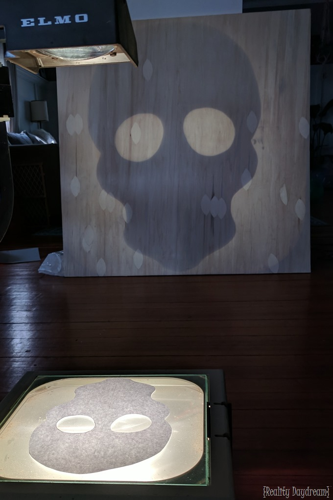 Trace skull on overhead projector and trace onto the plywood to make this sugar skull! {Reality Daydream}