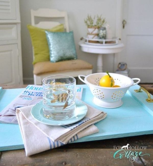 Aqua Centerpiece Serving Tray - a SIMPLE DIY Woodworking project perfect for beginners! {Fox Hollow Cottage}