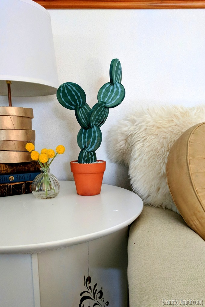 Cactus Coaster DIY Tutoial... made from wood, terra cotta, and plaster! {Reality Daydream}