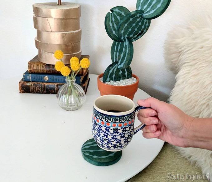 Cactus coasters made from wood, plaster, and a terra cotta pot! {Reality Daydream} #diy