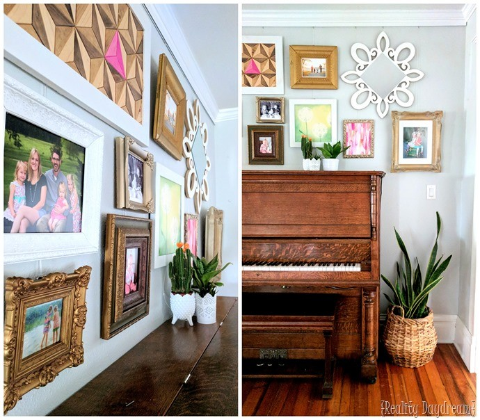 Gallery wall tips and inspiration, including how to install without putting ANY holes in your wall! {Reality Daydream}