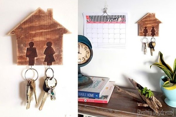 His and Hers Key Ring Rack - beginner scroll saw project {Reality Daydream}