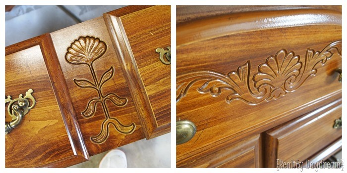 How to fill decorative carving in dated furniture {Reality Daydream}