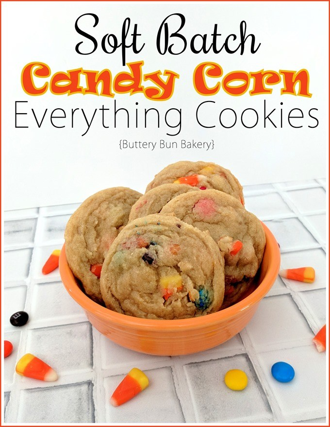 Soft Batch Candy Corn Cookies - with M&Ms and and peanuts too! #recipe #halloween