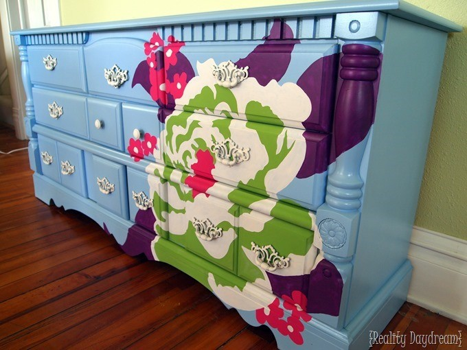 Use an overhead projecter to help you paint the PERFECT design on anything! Including furniture! {Reality Daydream}