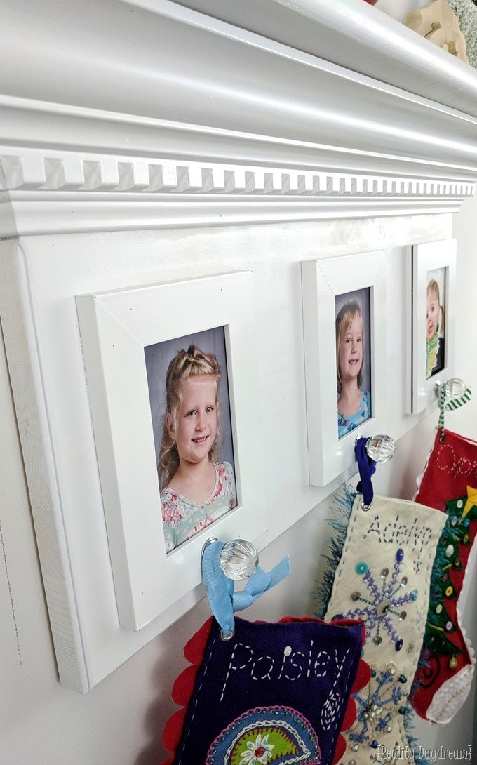Fireplace Mantel inspired shelf for hanging Christmas stockings {Reality Daydream}