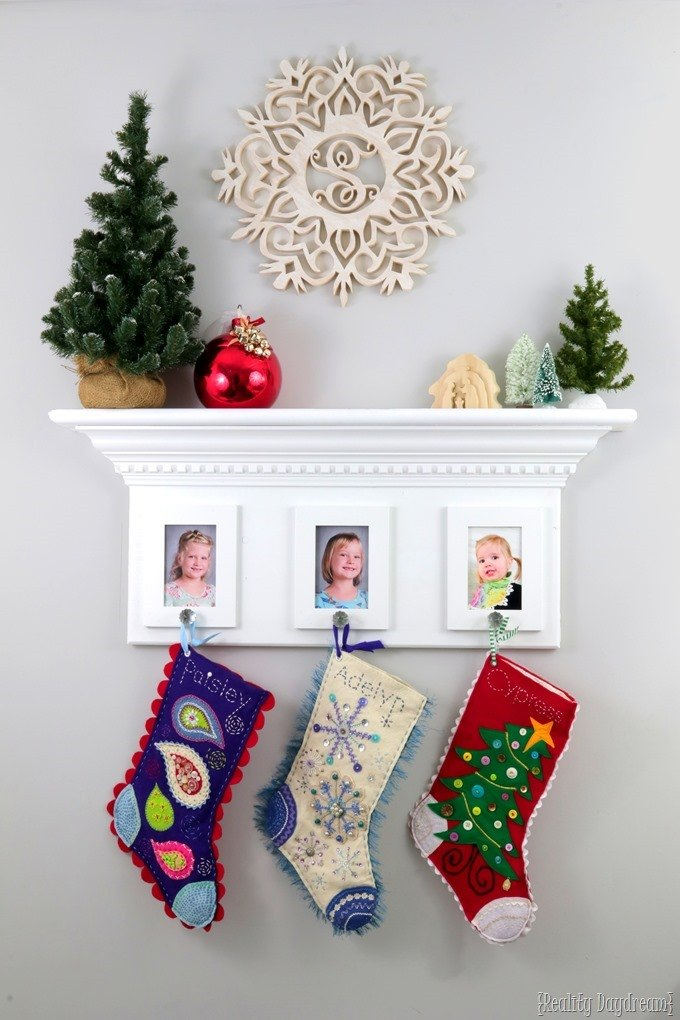 Wall shelf stocking hanger... inspired by a fireplace mantel! {Reality Daydream}