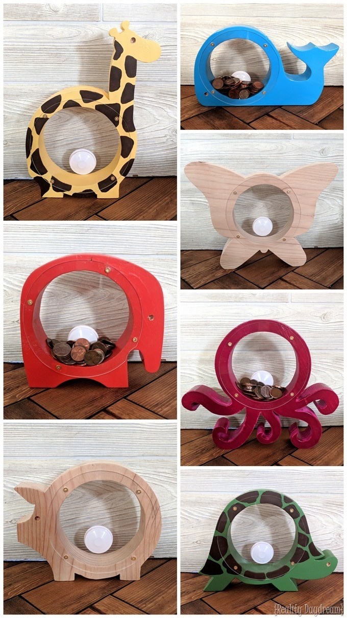 Wood and acrylic animal shaped banks with a window! {Reality Daydream}