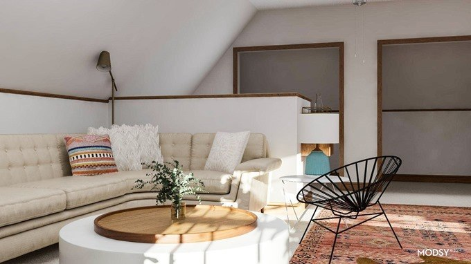 3D rendering of attic family room floor plan by Modsy {Reality Daydream}