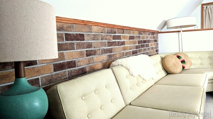 Add a thin brick accent wall below the chair rail with Coronado Brick Veneer! {Reality Daydream}