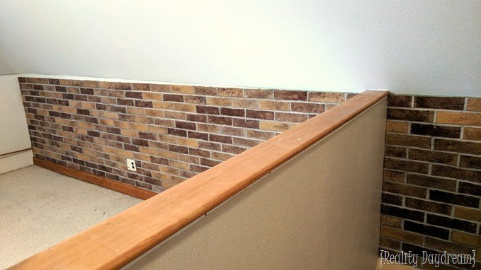 Adding thin brick below the chair rail in family room {Reality Daydream}