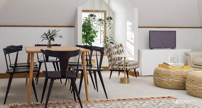 Attic family room layout and fiurniture placement by Modsy {Reality Daydream}