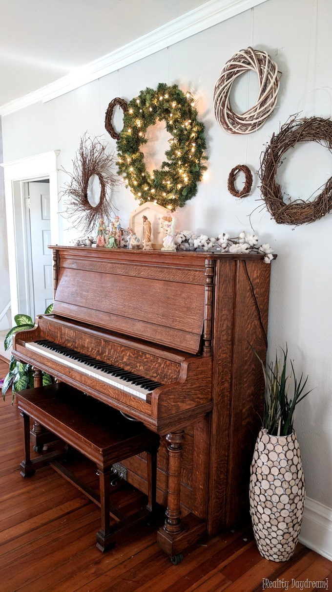 Christmas Gallery Wall with Piano as a 'mantel' {Reality Daydream}