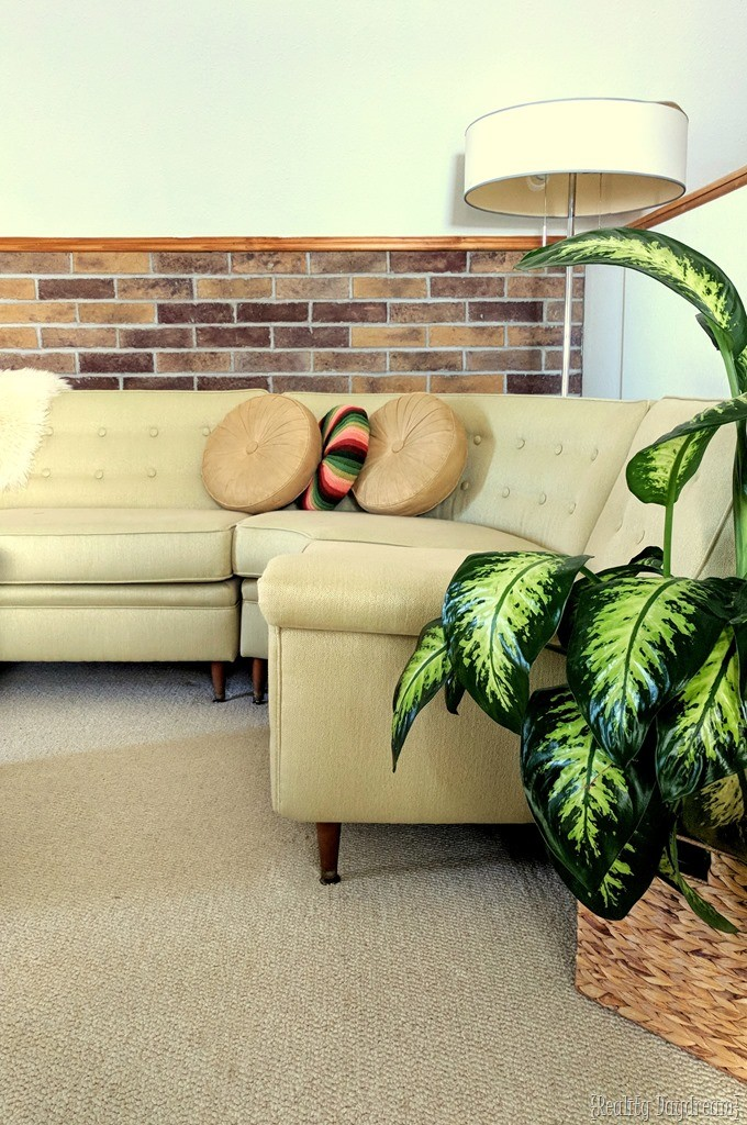 Coronado brick veneer accent wall installation below the chair rail {Reality Daydream}