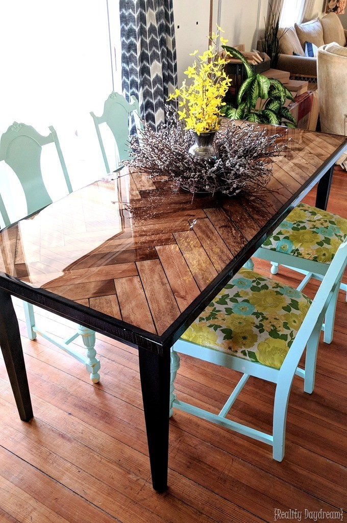 DIY Wooden Herringbone Dining Table with glossy epoxy and tapered legs {Reality Daydream}