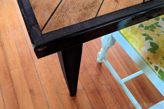Dining Table with Tapered Legs and Herringbone Top {Reality Daydream}