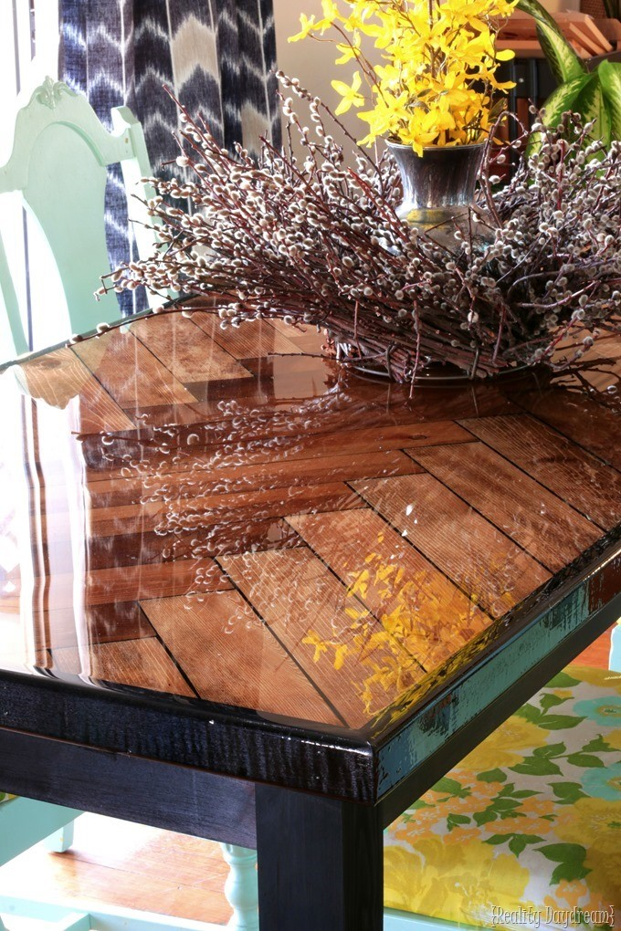 Glossy Epoxy Herringbone Wood Table {Reality Daydream}