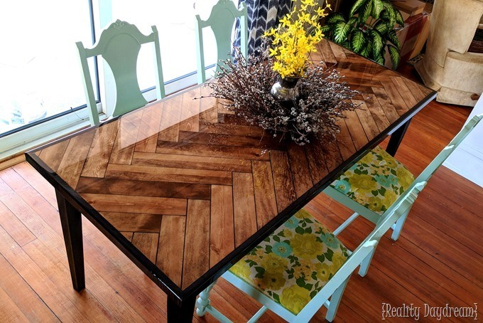 Make this Herringbon Table top with tapered wooden legs and epoxy {Reality Daydream}