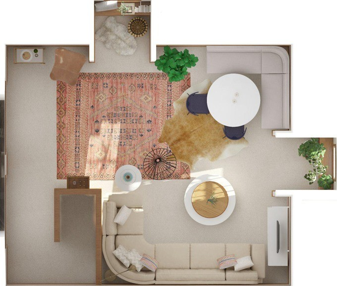 Overhead floor plan view of attic family room by Modsy {Reality Daydream}