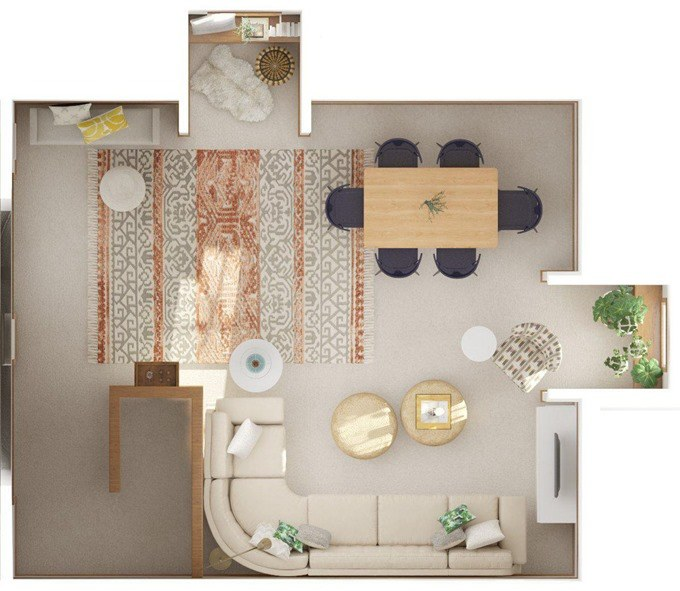 Overhead view floor plan of our attic space via Modsy {Reality Daydream}